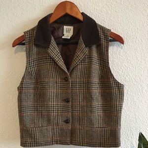 Vintage GAP Plaid Wool Vest Calfskin Collar L